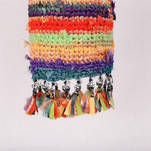 Lámpara colgante macramé colores rayas